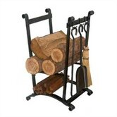 Compact Curved 3 Piece Fireplace Steel Tool Set with Log Rack