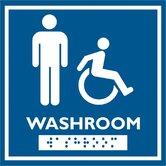 Male and Wheelchair Symbol with Braille Emboss