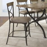 Charleston X-Back Non-Swivel Counter Stool in Distressed Desert Tan (Set of 2)