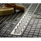 "46.7"" Wavy Bathroom Linear Shower Drain"