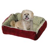 Quiet Time Fur and Designer Print Boutique Reversible Snap Bolster Dog Bed in Burgundy