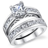 Sterling Silver Princess Cubic Zirconia 925 Wedding Band Engagement Ring Set