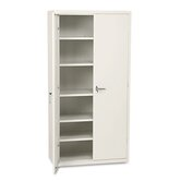Assembled High Storage Cabinet, 5 Adjustable Shelves, 36 x 18 x 72, Putty