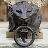 Lion Head with Ring Sculpture