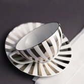 Platinum Fine Bone China Striped Tea Saucer