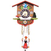 Battery Operated Chalet Clock with Swinging Girls