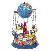 Tin Lever Wind Rocket and Globe Carousel Toy