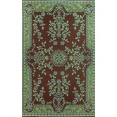 Oriental Garland Teal Brown Rug