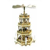 4 Tier Natural Wood Nativity Scene and Angels Pyramid