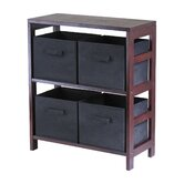 Capri Low Storage Shelf with 4 Foldable Black Fabric Baskets
