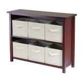 Verona Low Storage Shelf with 6 Foldable Beige Fabric Baskets