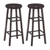 "30"" Swivel Bar Stool in Dark Espresso (Set of 2)"