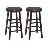 "24"" Swivel Counter Stool in Dark Espresso (Set of 2)"