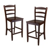 "Ladder Back 24"" High Chair in Antique Walnut (Set of 2)"