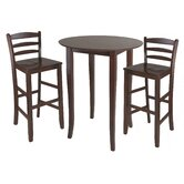 Fiona 3 Piece Set High Round Table with Ladder Back High Chair in Antique Walnut