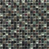"Flare Series 12"" x 12"" Mixed Glass and Stone Mosaic in Black"