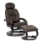 Baxton Studio Worland Modern Ergonomic Recliner and Ottoman