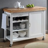 Baxton Studio Denver Kitchen Cart with Butcher Block Top