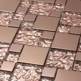 Venetian Random Sized Glass and Aluminum Tile in Copper Goddess