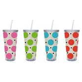Polka Dot 20 oz. Insulated Cup with Burlap Insert (Set of 4)
