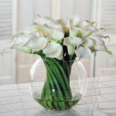 Calla Lilies in Round Glass Bowl Vase