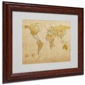"""World Map Antique"" by Michael Tompsett Matted Framed Graphic Art"