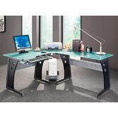 Graphite & Frosted Glass L-Shaped Computer Desk with CPU Caddy