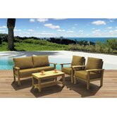 Amazonia Teak San Marcos 4 Piece Deep Seating Group with Cushion