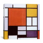 'Composition with Large Red Plane, Yellow, Black, Gray and Blue 1921' by Piet Mondrian Canvas Art