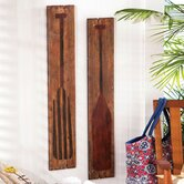 2 Piece Nautical Plank Boat Ore Wall Décor Set