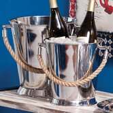 Stainless Steel Buckets with Rope Handles (Set of 2)