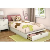 "Twin 39"" Platform Bed with Drawer in Pure White"