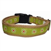 Green Daisy Cotton Dog Collar