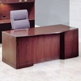 Vitality 72&quot; W 3/4 Double Pedestal Bow Front Executive Desk with Drawers