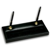 1000 Series Classic Leather Double Gold Pen Stand in Black
