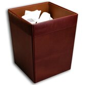 1000 Series Classic Leather Square Waste Basket in Mocha