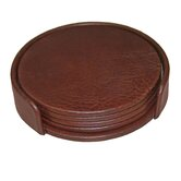 1000 Series Classic Leather Four Round Coasters with Holder in Mocha