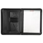 Leather Portfolios Split-Grain Enhanced Zip-Around Portfolio in Black