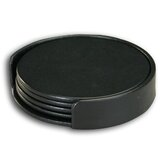1000 Series Classic Leather Four Round Coaster Set with Holder in Black