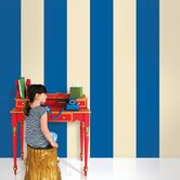 Stripe Wallpaper in Blue and Cream