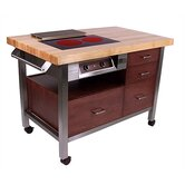 Pro Chef Restaurateur Mobile Kitchen Cart with Wood Top