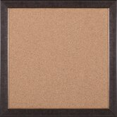 "Rustic Cork Board in Mottled Black Brown / Gold Lip - 28"" x 28"""