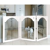 Universal Free-Standing Wood and Wire Pet Gate in White