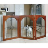 Universal Free-Standing Wood and Wire Pet Gate in Cherry