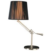 Tuxedo Swing Arm Table Lamp in Satin Nickel