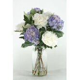 Hydrangeas and Peonies in Glass Vase