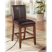 "Willow 24"" Barstool in Rich Burnished Dark Brown Wood (Set of 2)"