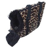 Pet Carrier in Fleece with Leopard Spots