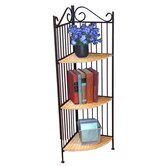 3 Tier Corner Bookcase in Wicker and Metal