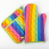 Colorful Rainbow Print Oven Mitt Potholder Set